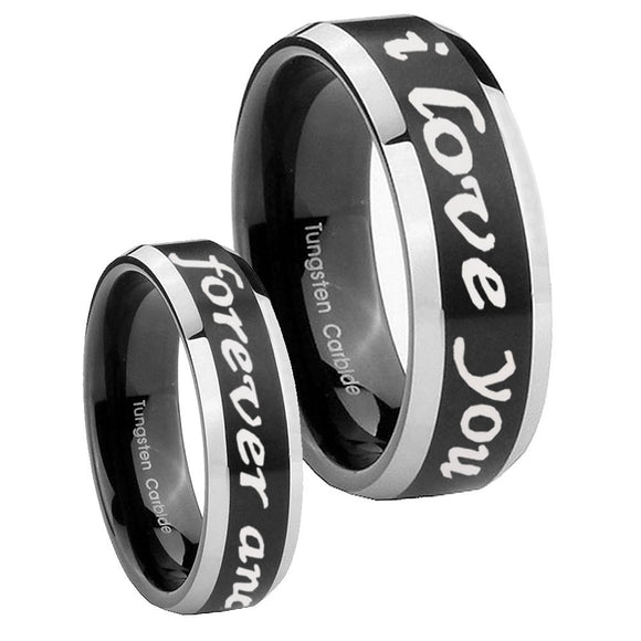 His Hers I Love You Forever and ever Beveled Brush Black 2 Tone Tungsten Men's Ring Set