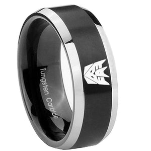 8mm Decepticon Transformers Beveled Brush Black 2 Tone Tungsten Engagement Ring