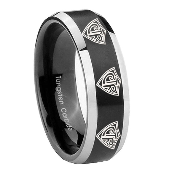 8mm Multiple CTR Beveled Edges Brush Black 2 Tone Tungsten Anniversary Ring