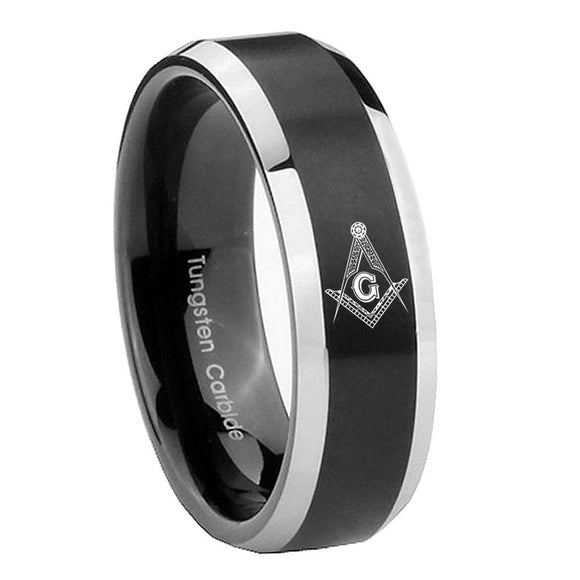 8mm Master Mason Masonic Beveled Brush Black 2 Tone Tungsten Engagement Ring