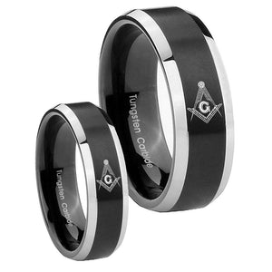 His Hers Master Mason Masonic Beveled Brush Black 2 Tone Tungsten Mens Ring Set