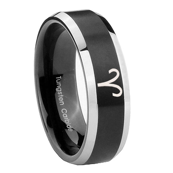 8mm Aries Zodiac Beveled Edges Brush Black 2 Tone Tungsten Custom Mens Ring