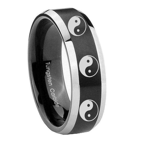 8mm Multiple Yin Yang Beveled Brush Black 2 Tone Tungsten Mens Ring Personalized