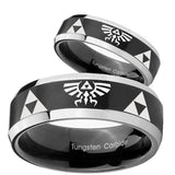 His Hers Legend of Zelda Beveled Brush Black 2 Tone Tungsten Engraved Ring Set