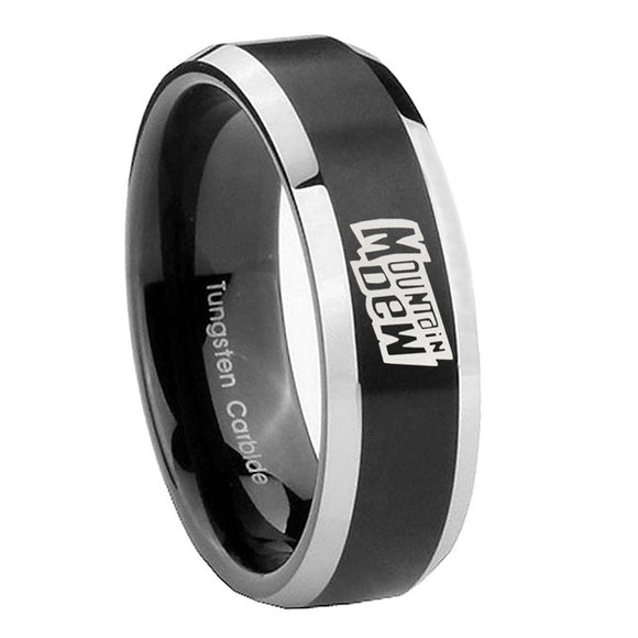 8mm Mountain Dew Beveled Edges Brush Black 2 Tone Tungsten Mens Wedding Band
