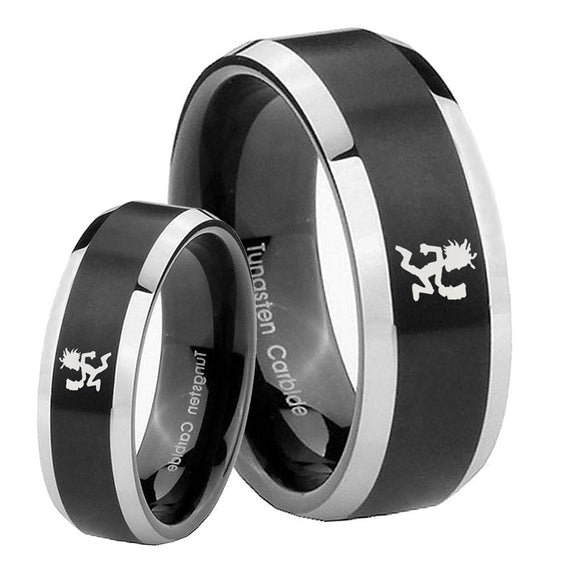 His Hers Hatchet Man Beveled Edges Brush Black 2 Tone Tungsten Bands Ring Set