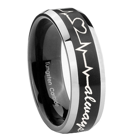 8mm Heart Beat forever Heart always Beveled Brush Black 2 Tone Tungsten Mens Ring