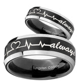 His Hers Heart Beat forever Heart always Beveled Brush Black 2 Tone Tungsten Men Band Set