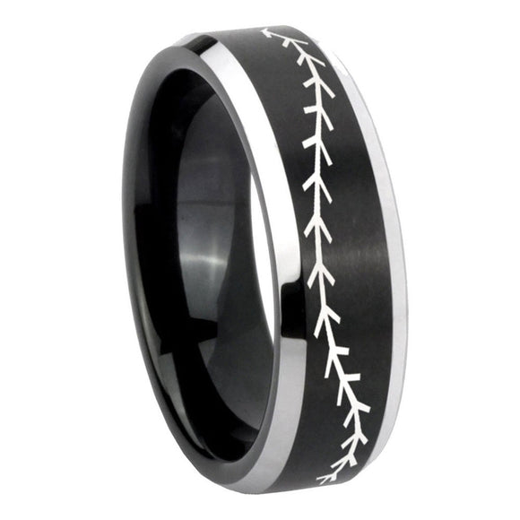 10mm Baseball Stitch Beveled Brush Black 2 Tone Tungsten Mens Engagement Ring