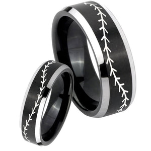 His Hers Baseball Stitch Beveled Brush Black 2 Tone Tungsten Men Ring Set
