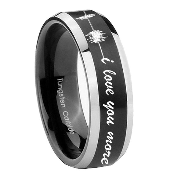 10mm Sound Wave I love you more Beveled Brush Black 2 Tone Tungsten Promise Ring
