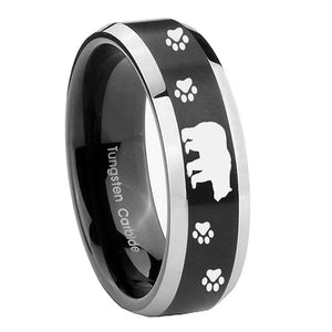 8mm Bear and Paw Beveled Edges Brush Black 2 Tone Tungsten Anniversary Ring