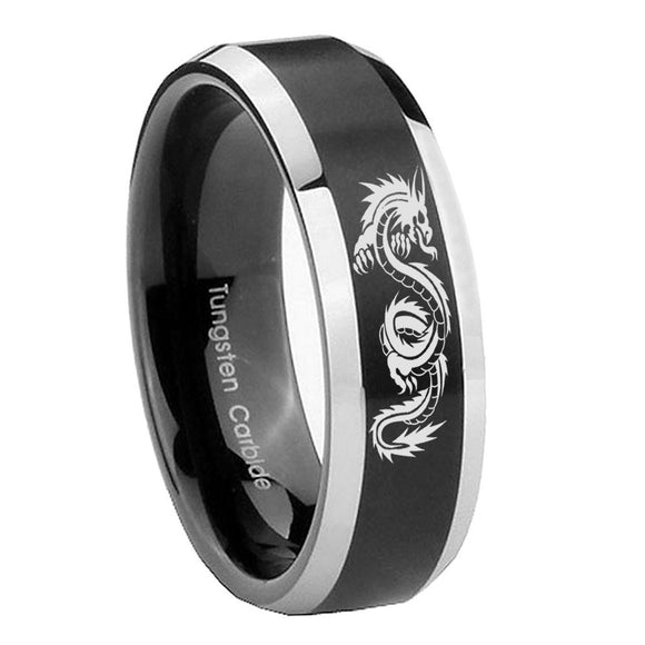 8mm Dragon Beveled Edges Brush Black 2 Tone Tungsten Carbide Engraved Ring