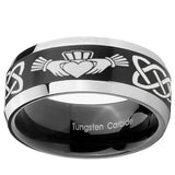 8mm Irish Claddagh Beveled Edges Brush Black 2 Tone Tungsten Wedding Engraving Ring