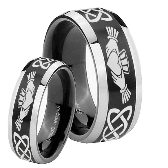 His Hers Irish Claddagh Beveled Brush Black 2 Tone Tungsten Mens Promise Ring Set