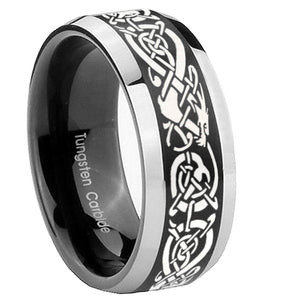 8mm Celtic Knot Dragon Beveled Edges Brush Black 2 Tone Tungsten Engraved Ring