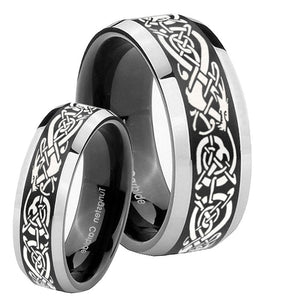 His Hers Celtic Knot Dragon Beveled Brush Black 2 Tone Tungsten Mens Ring Set