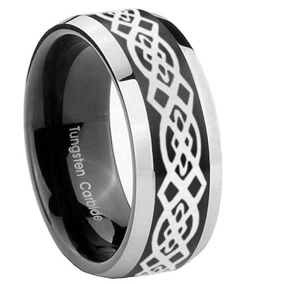 10mm Celtic Knot Beveled Edges Brush Black 2 Tone Tungsten Custom Mens Ring