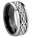 8mm Celtic Knot Beveled Edges Brush Black 2 Tone Tungsten Carbide Bands Ring