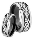 His Hers Celtic Knot Beveled Brush Black 2 Tone Tungsten Custom Mens Ring Set