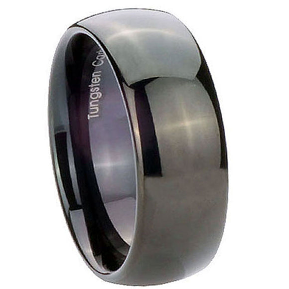 8MM Tungsten Carbide Glossy Black Dome Men Bands Ring