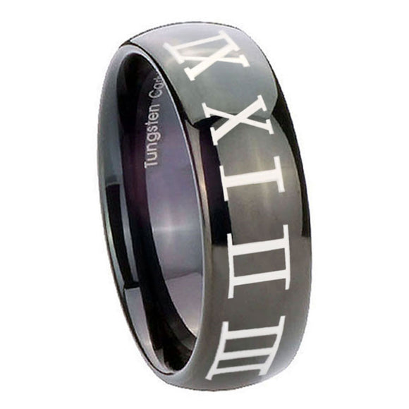10mm Roman Numeral Dome Black Tungsten Carbide Custom Mens Ring