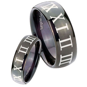 Bride and Groom Roman Numeral Dome Black Tungsten Carbide Men's Ring Set