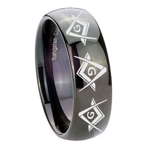 10mm Master Mason Masonic  Dome Black Tungsten Carbide Mens Bands Ring