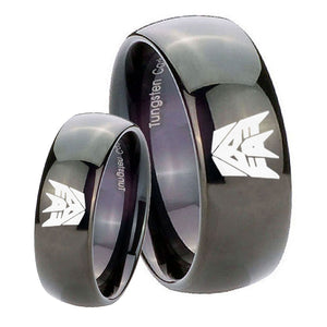 His Hers Decepticon Transformers Dome Black Tungsten Mens Wedding Ring Set