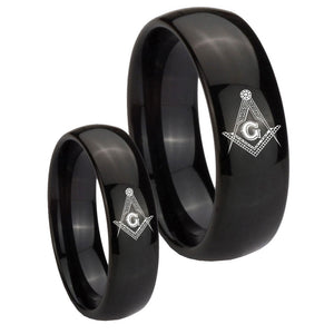 Bride and Groom Master Mason Masonic Dome Black Tungsten Promise Ring Set