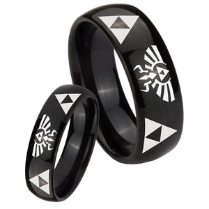 Bride and Groom Legend of Zelda Dome Black Tungsten Mens Engagement Ring Set