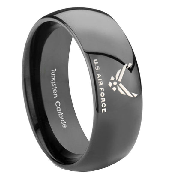 10MM Classic Dome US Air Force Shiny Black Tungsten Carbide Men's Ring