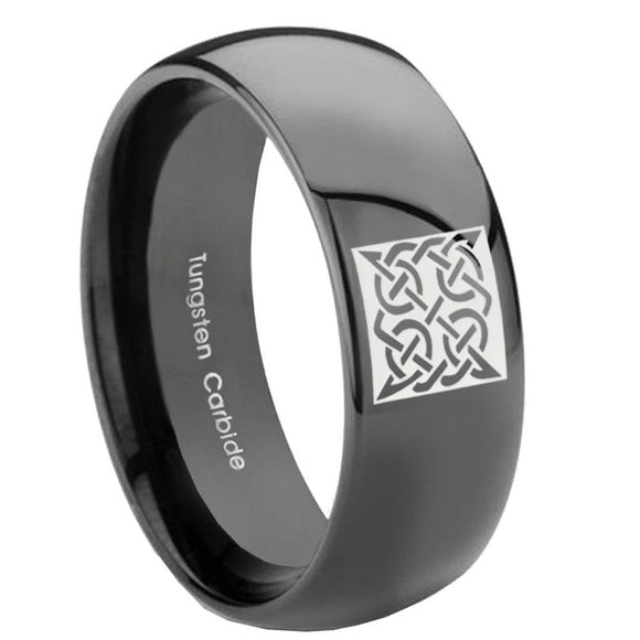 10mm Celtic Design Dome Black Tungsten Carbide Men's Bands Ring