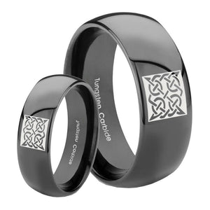Bride and Groom Celtic Design Dome Black Tungsten Carbide Personalized Ring Set