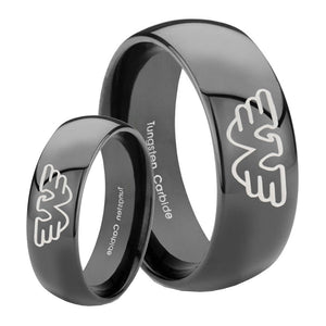 Bride and Groom Waylon Jennings Dome Black Tungsten Carbide Men's Ring Set