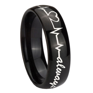 10mm Heart Beat forever Heart always Dome Black Tungsten Carbide Mens Ring