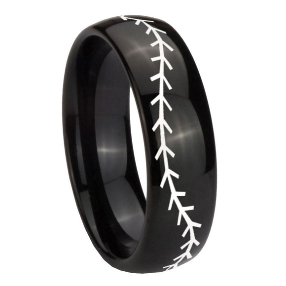 10mm Baseball Stitch Dome Black Tungsten Carbide Mens Ring Engraved