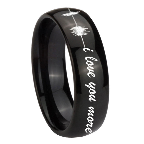 10mm Sound Wave, I love you more Dome Black Tungsten Carbide Mens Wedding Band