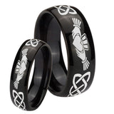 Bride and Groom Irish Claddagh Dome Black Tungsten Carbide Wedding Bands Ring Set