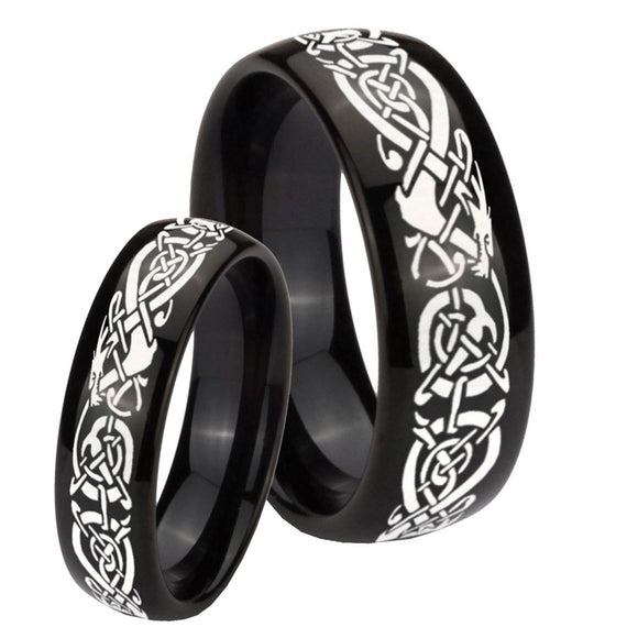 His Hers Celtic Knot Dragon Dome Black Tungsten Wedding Engagement Ring Set