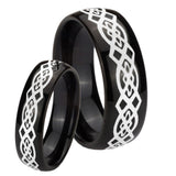 Bride and Groom Celtic Knot Dome Black Tungsten Carbide Anniversary Ring Set