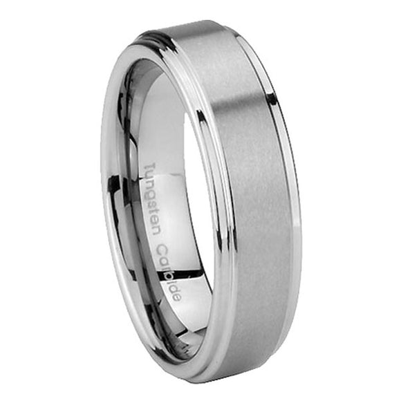 5mm Tungsten Carbide Silver Color Step Edges Women Bands Ring