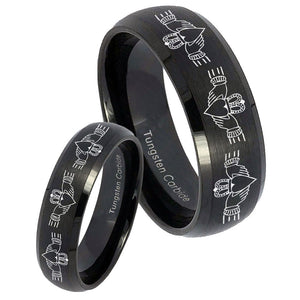His and Hers Irish Claddagh Dome Brush Black Tungsten Men's Wedding Ring Set