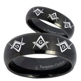 His and Hers Master Mason Masonic  Dome Brush Black Tungsten Bands Ring Set