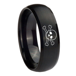 10mm Skull Dome Brush Black Tungsten Carbide Mens Engagement Ring