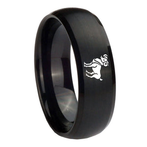 10mm Aries Zodiac Horoscope Dome Brush Black Tungsten Mens Engagement Band