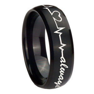 10mm Heart Beat forever Heart always Dome Brush Black Tungsten Wedding Band Ring