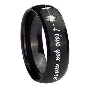 10mm Sound Wave, I love you more Dome Brush Black Tungsten Carbide Promise Ring