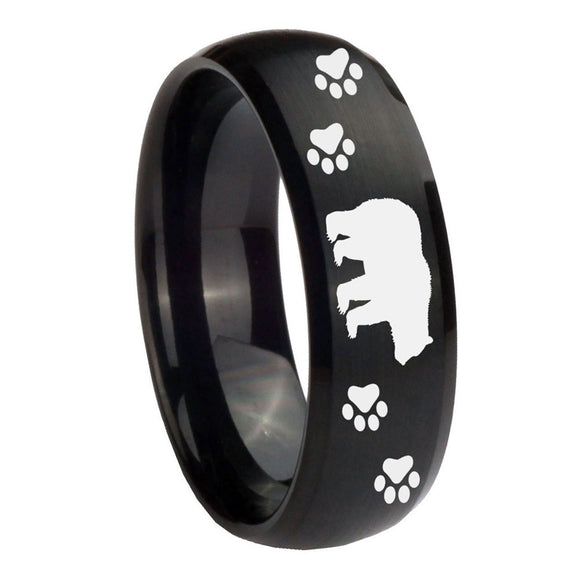 10mm Bear and Paw Dome Brush Black Tungsten Carbide Anniversary Ring