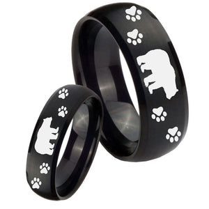 His and Hers Bear and Paw Dome Brush Black Tungsten Mens Engagement Band Set